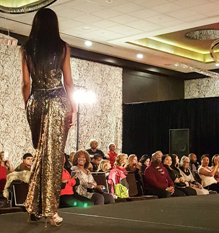 Fashion show model for Toys for Tots